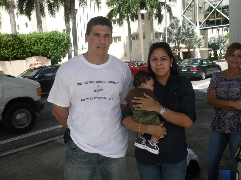 Vera Delgado, baby Mario, and Anthony Losquadro (Intaction.org) at Miami anti-circumcision rally
